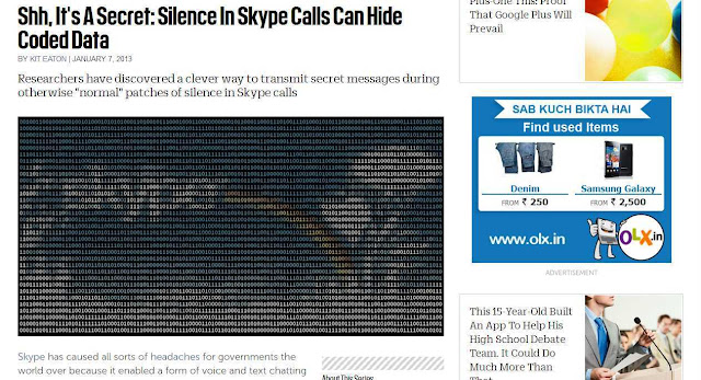 'The Silence' (patch), while a Skype Call is good to inject secret encrypted data?