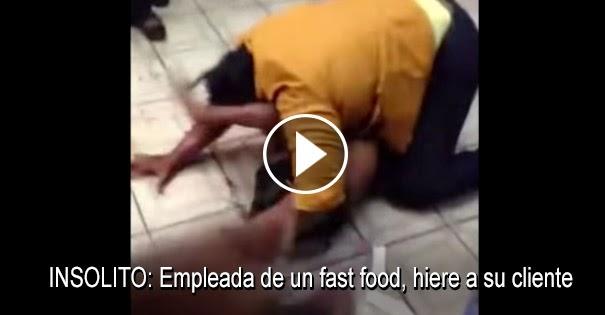 PELEAS CALLEJERAS:Empleada de un fast food hiere a una cliente