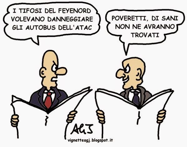 roma, feyenoord, ATAC, hooligan, satira, vignetta