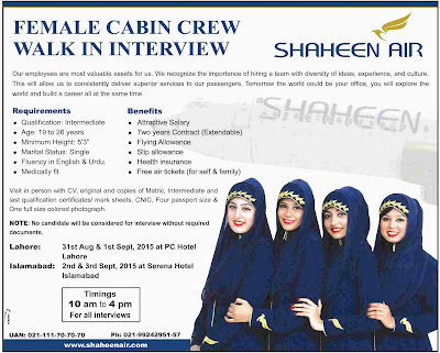 Female Cabin crew / air hostess Jobs in Shaheen Air