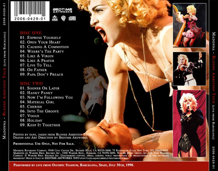 Blond Ambition Tour Songs