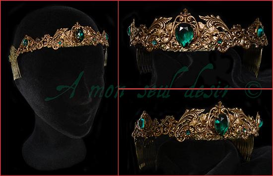 Couronne médiévale renaissance bronze vert émeraude reine princesse Moyen-Age Bijouterie Château Esmeralda