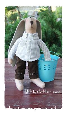 Текстильный зайчик, интерьерная игрушка
