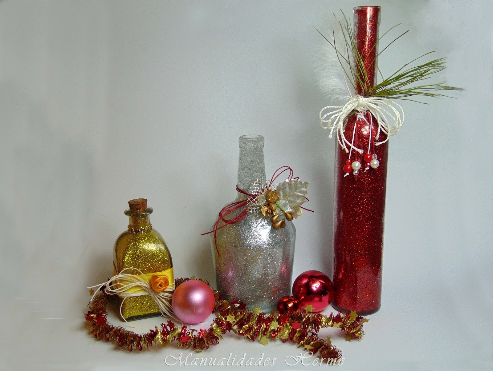 Manualidades herme diy botella decorada para navidad - Decorar botellas de cristal ...