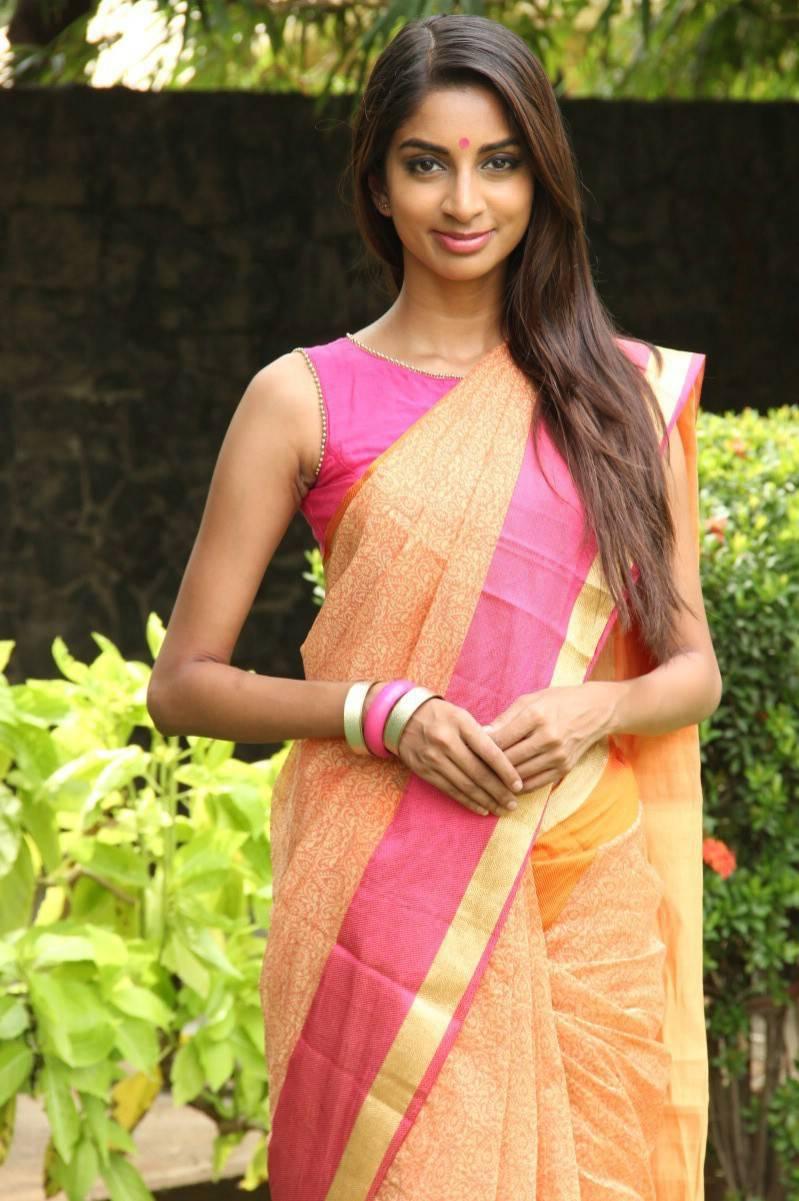 Actress Sahithya Jagannathan Latest Cute Hot Orange Saree Navel Show Spicy Photos Gallery