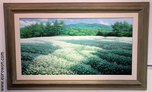 Campo de alforfón en flor, en un cuadro de un pintor coreano