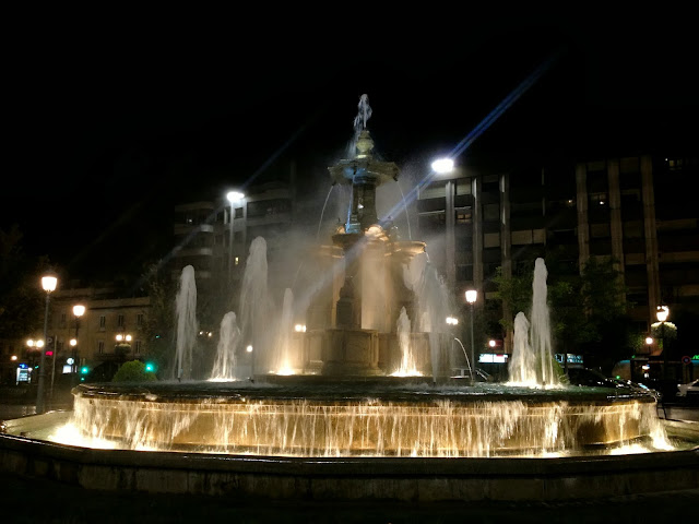 Granada fountain at night on Semi-Charmed Kind of Life