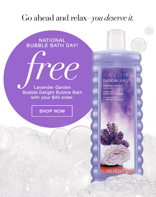 Free Avon Bubble Delight Bubble Bath with $40 Online Purchase. Use code: BUBBLES at checkout.