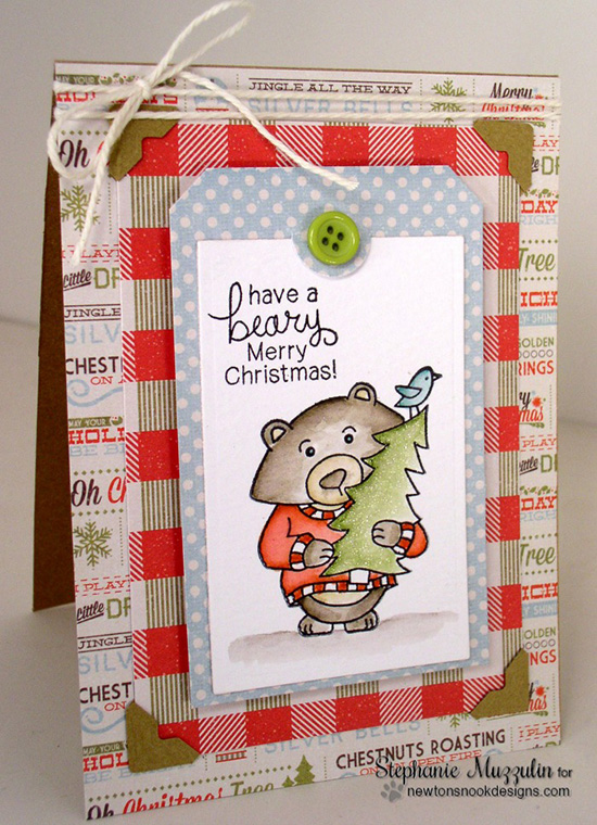 Beary Merry Christmas Card by Stephanie Muzzulin for Newton's Nook Designs - Winston's Home for Christmas Stamp set