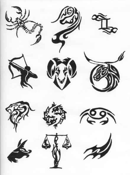 horoscope symbols tattoos 7 designs. Black Bedroom Furniture Sets. Home Design Ideas