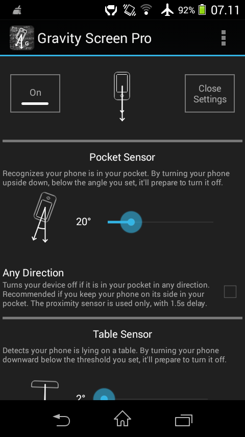android how to turn off screen light sensor