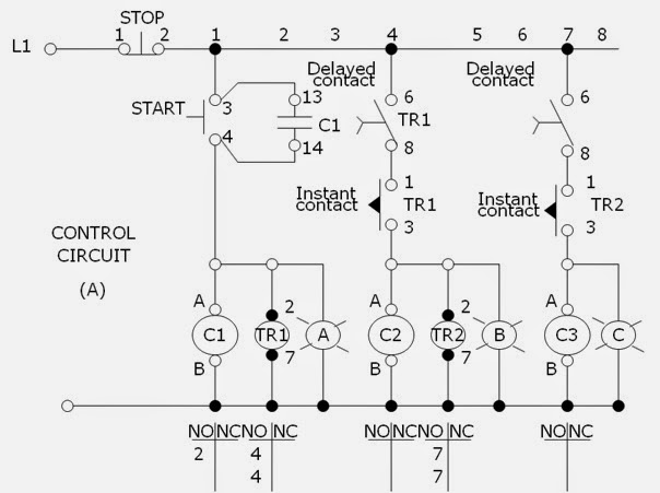 sequential 3 stages motor operation and circuits