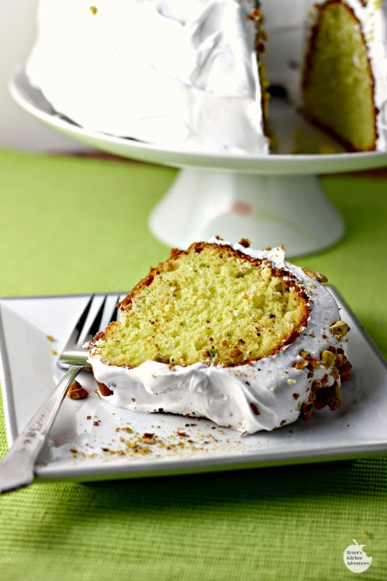 Pistachio Cake with Marshmallow Frosting | Renee's Kitchen Adventures: A pudding cake with lots of flavor and a fun green color!