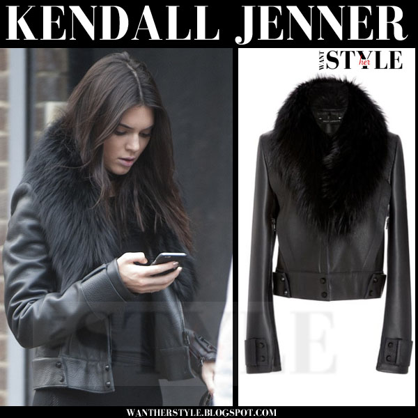 Kendall Jenner in black leather fur collar sally lapointe bomber jacket what she wore models off duty