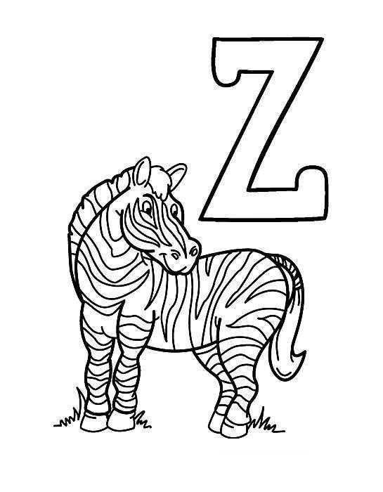Desenhos Preto e Branco letras do alfabeto letra Z Colorir