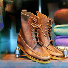 Polo Ralph Lauren Grained-Leather Vandan Boots.