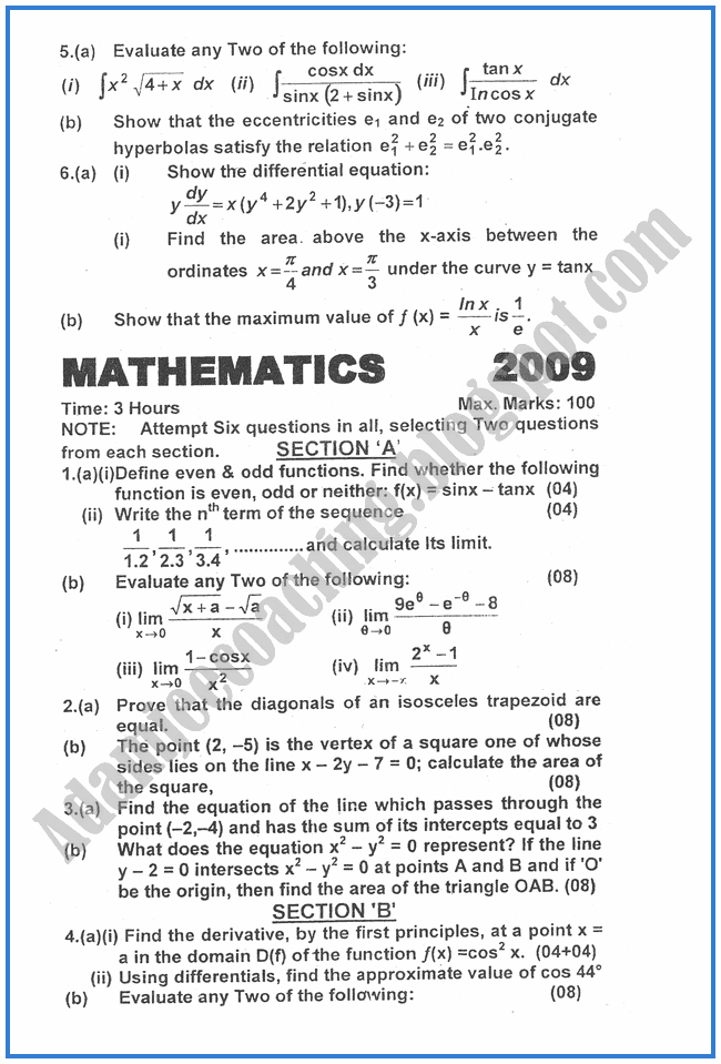 Mathematics-2009-past-year-paper-class-XII