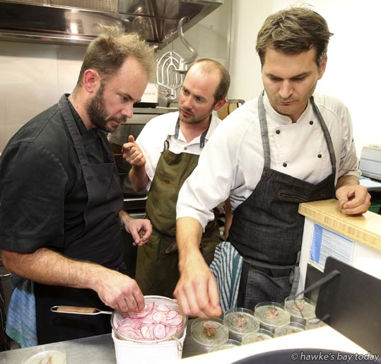 "L-R: James Beck of Bistronomy, Giulio Sturla, chef-owner of Cuisine Restaurant of the Year 2015, Roots, from Lyttleton, and Michael Hannah of The Loading Ramp teamed up to serve up """"Cook Up"" Foraged New Zealand Cuisine"" at Bistronomy, Hastings St, Napier, an event part of F.A.W.C! Food and Wine Classic. photograph"
