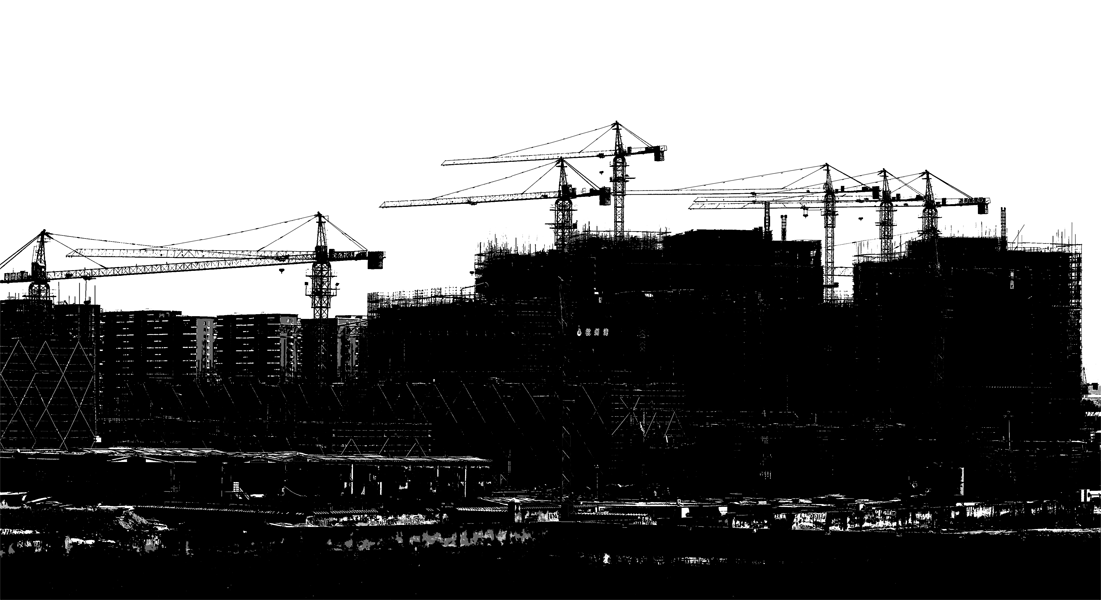 Silhouette of a Chinese construction site