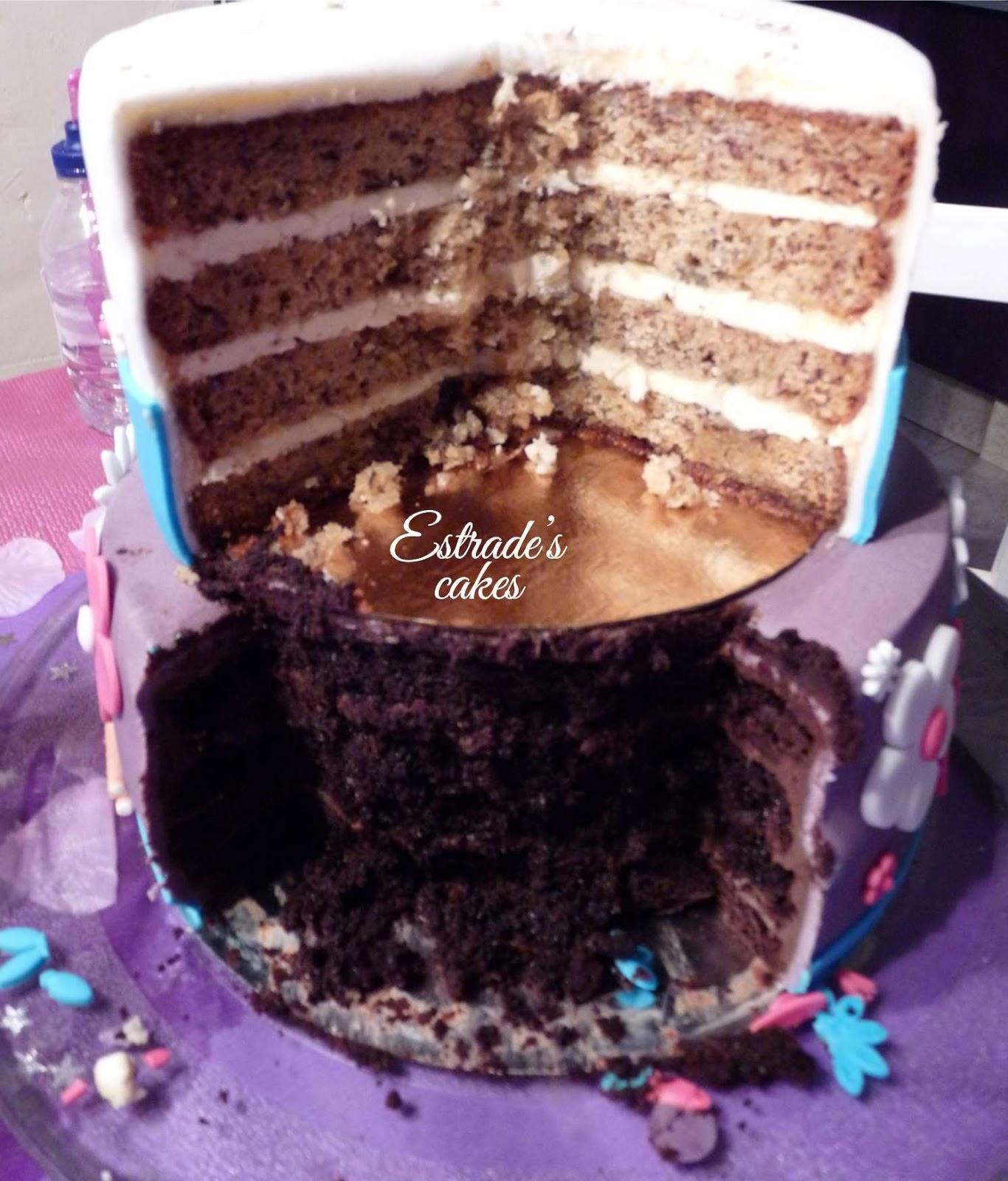 tarta de Violetta para cumpleaños - corte
