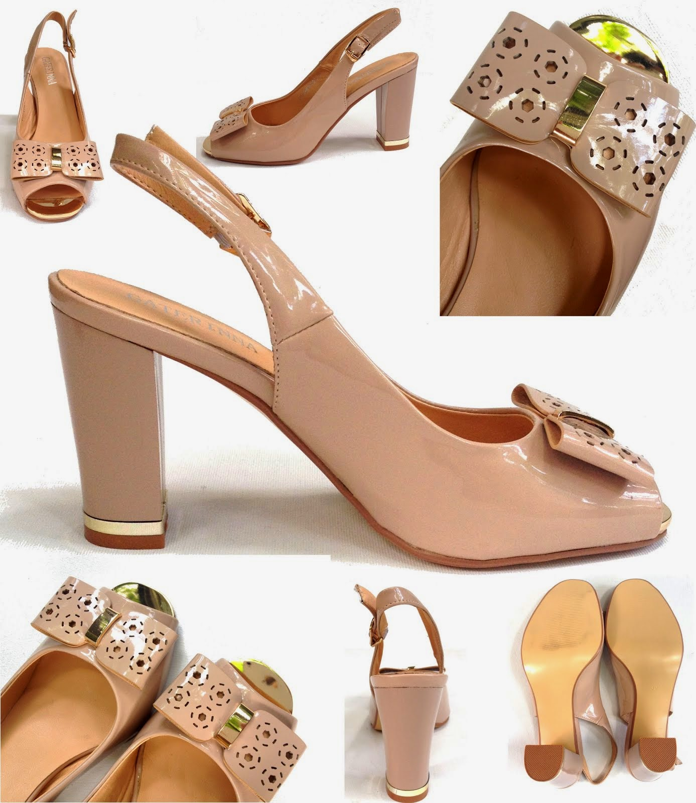 Sandale din lac roz nude, CATERINA, marimea 39