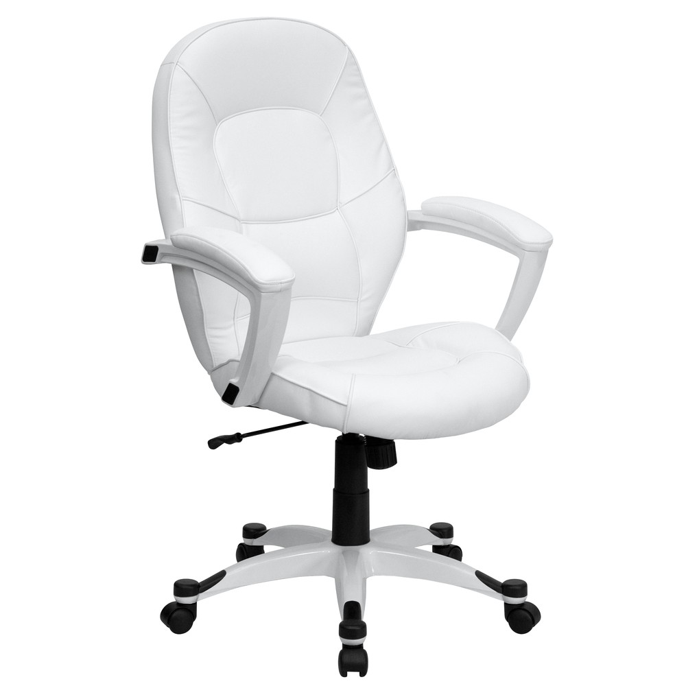 White leather chair for Desk chair white leather