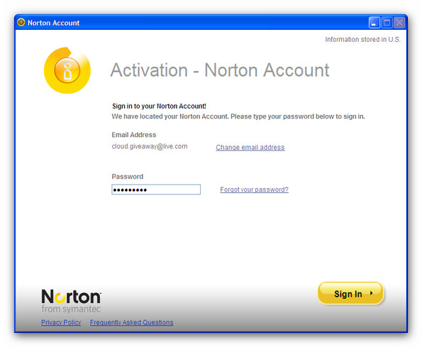 norton password