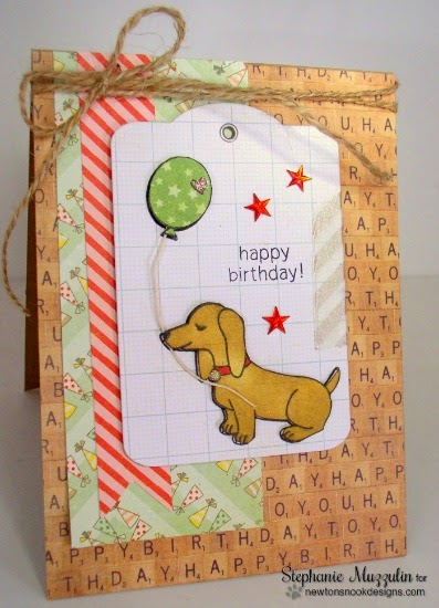 Happy Birthday Doxie Card by Stephanie Muzzulin | Delightful Doxies stamp set by Newton's Nook Designs