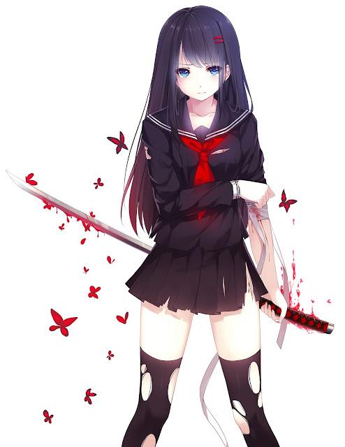 anime blood,anime butterfly,caidychen