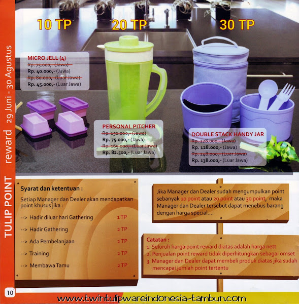 Point Reward Twin Tulipware | Juli - Agustus 2014