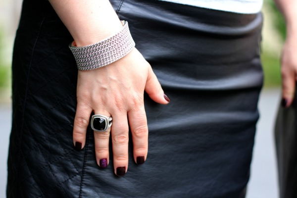 Faux Leather Skirt - Forever 21, Silver and Black Onyx Ring - David Yurman