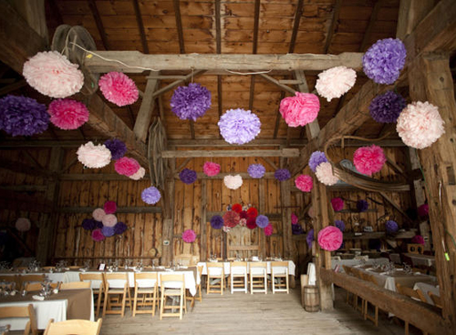 pompoms hung from ceiling