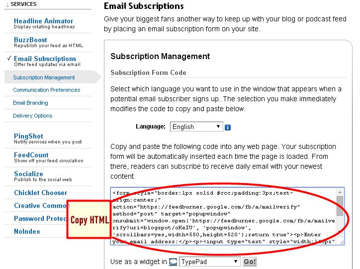 Daftar RSS Feedburner Dan Berlangganan Email Untuk Blog 6