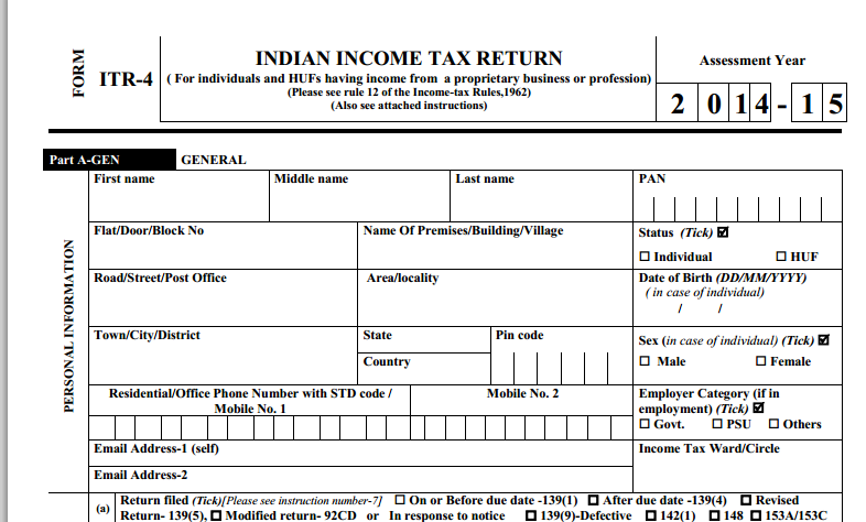 Income tax return forms ITR for the Assessment year 201415 – Income Assessment Form