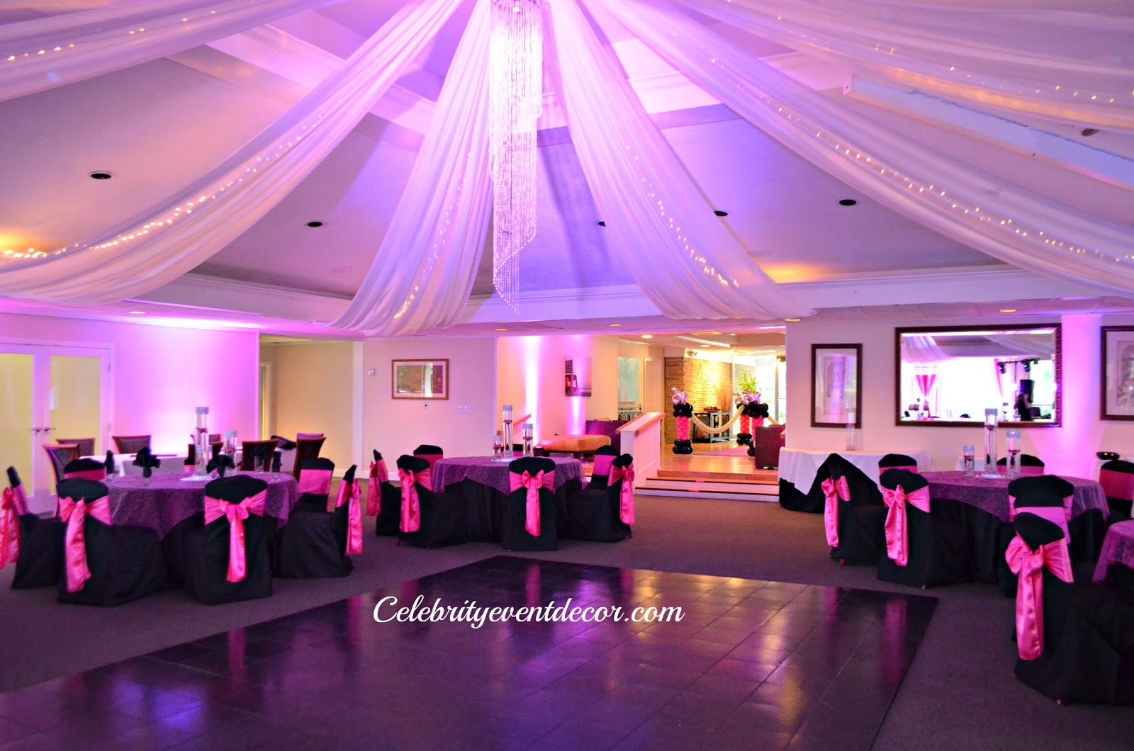 Celebrity event decor banquet hall llc for Hall decoration design