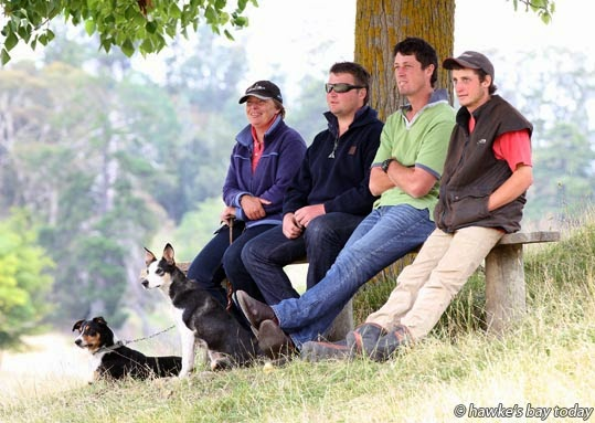 L-R: Sheena Martin, Wairoa, Josh Renner, Wairoa, Jeremy Bright, Wairoa, Jacob Moyle, Havelock North, watching the class one long head course photograph