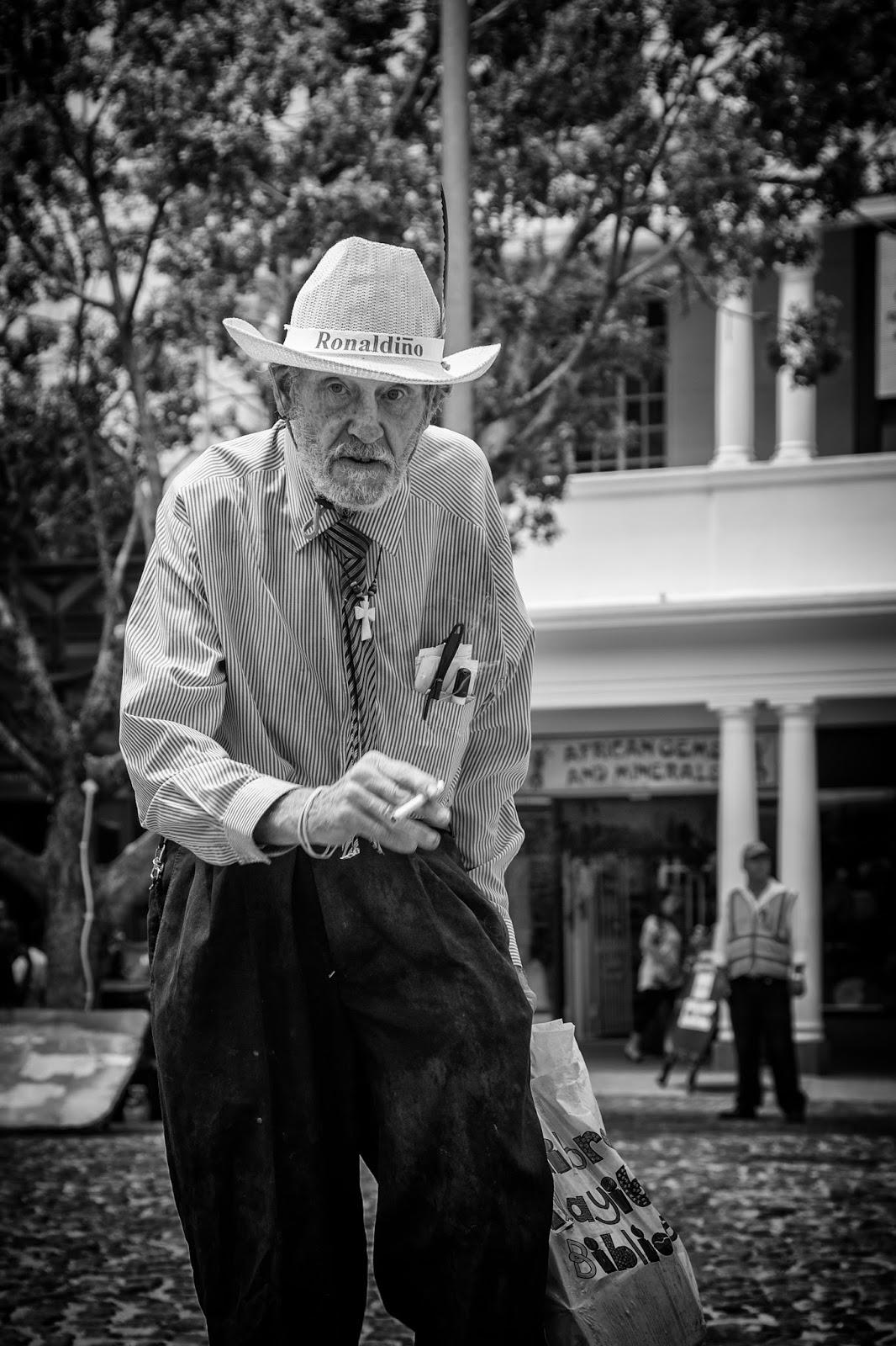 A street portrait shot in Greenmarket square Cape Town