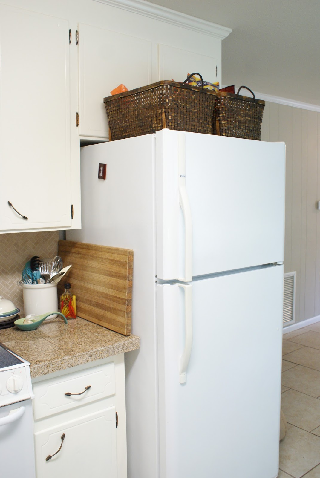 Carry grace quick tip tuesday use baskets on your fridge to i just placed some large baskets on top of the fridge to hold these items one for all the chips and one for all the bread tortillas and bagels publicscrutiny Choice Image