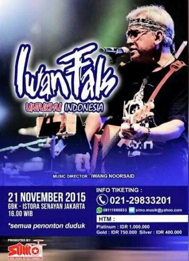 Harga Tiket Konser Iwan Fals November 2015 Untukmu Indonesia