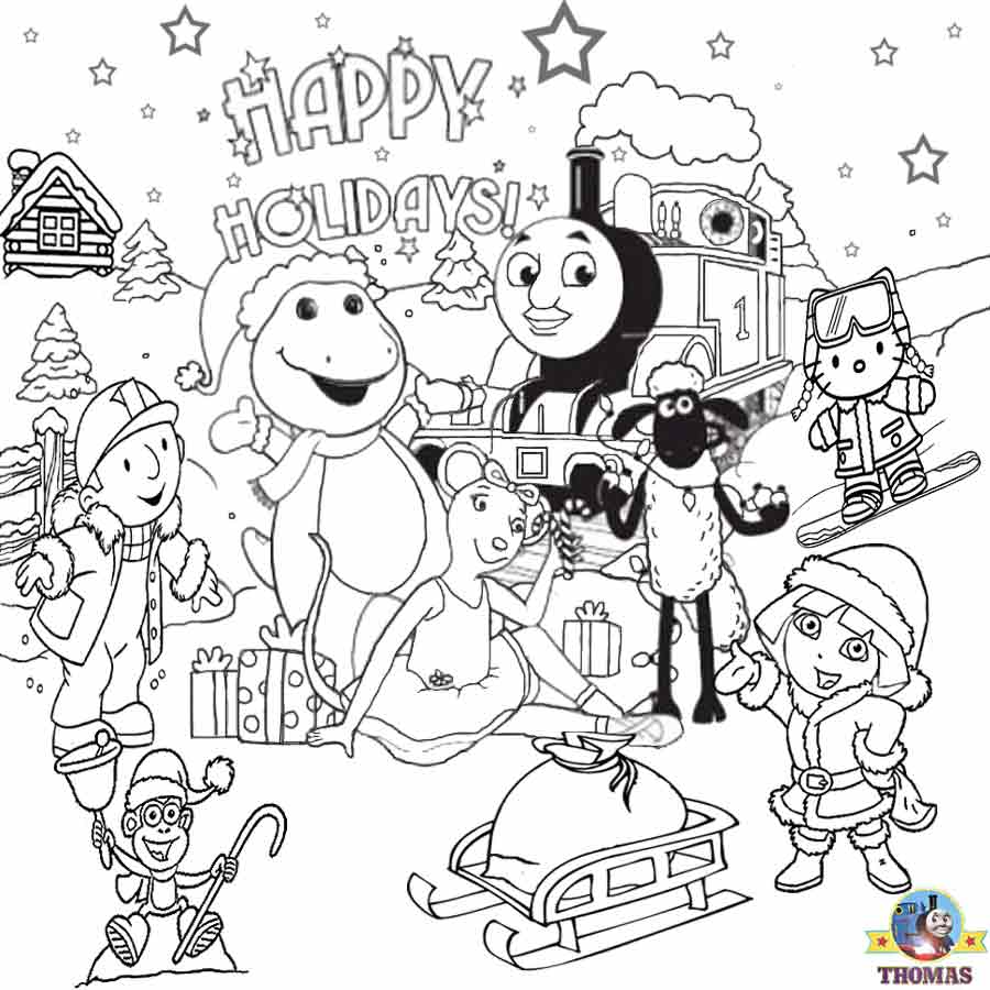 Christmas coloring in pages printable - Dora Hello Kitty Bob Builder Barney Thomas Train Free Printable Christmas Coloring Pages To Color In