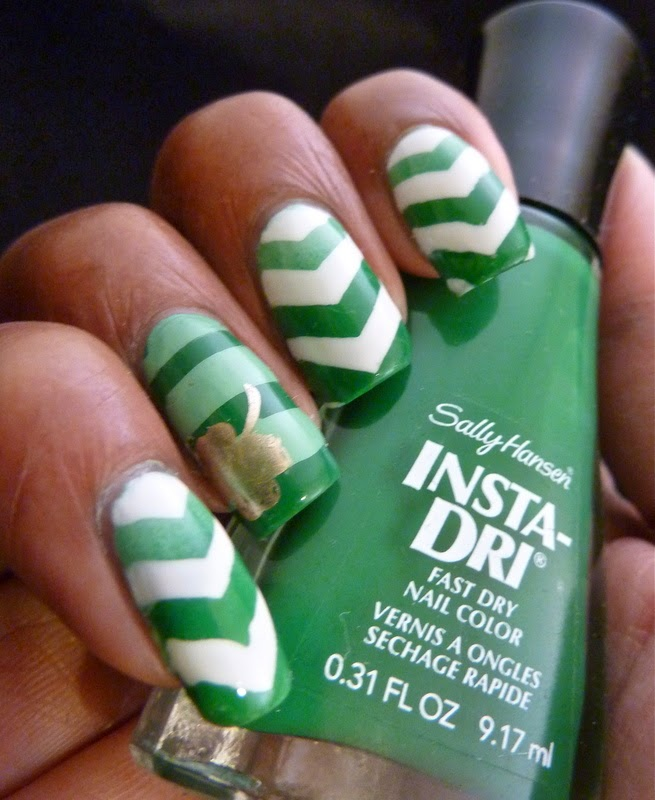 Lacquer Lockdown - cheverons, nail vinyls, @teismom, shamrocks, bunny nails, HD-B, stamping, cute nail art, nail art ideas, diy nail art, easy nail art, sally hansen I-rush Luck, Sally Hansen Jade Jump, Essie No Plate Like Chrome, pueen 2014, stamping
