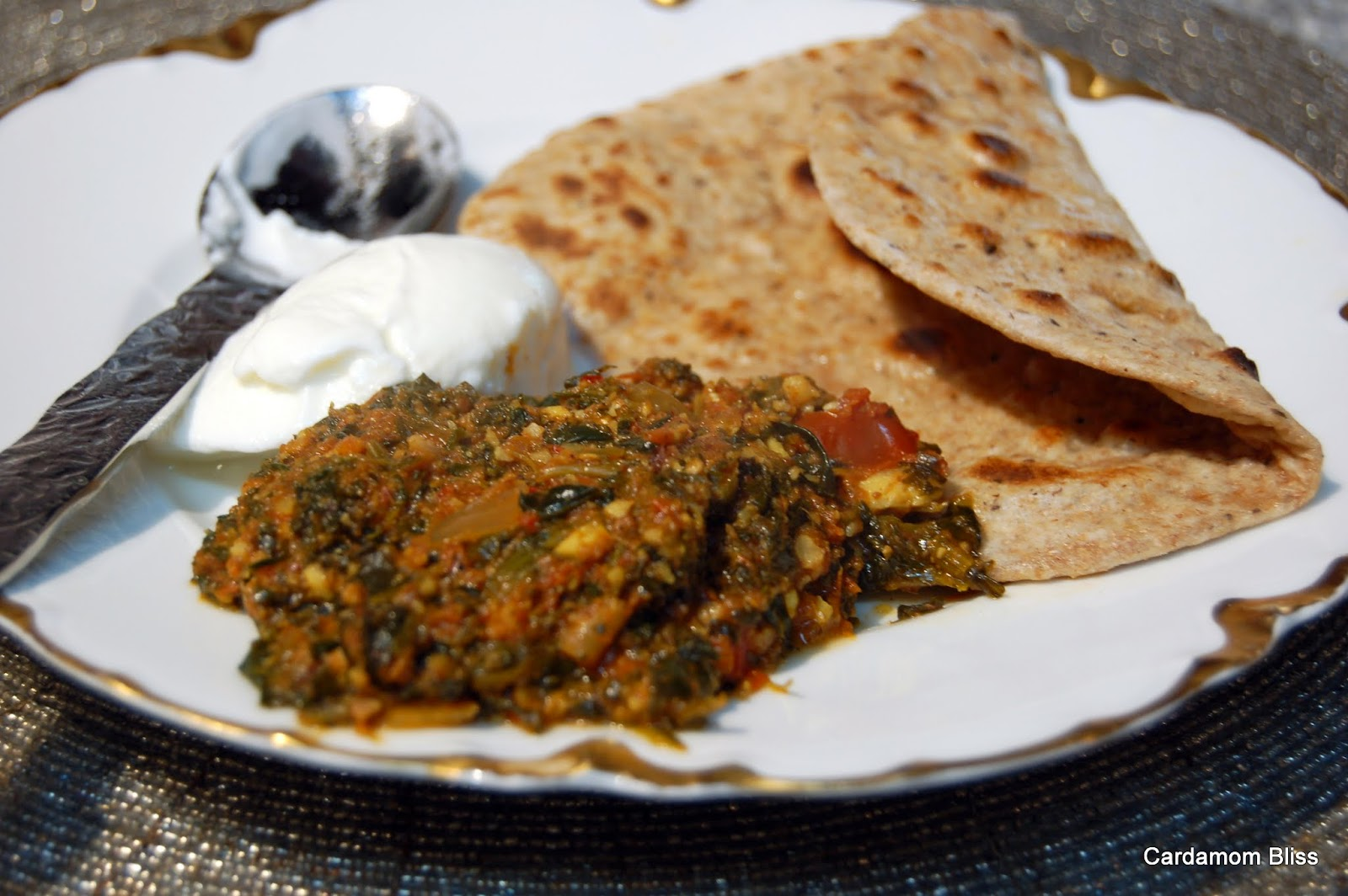 Almond Masala Stew with a chapatti and a bit of plain yogurt