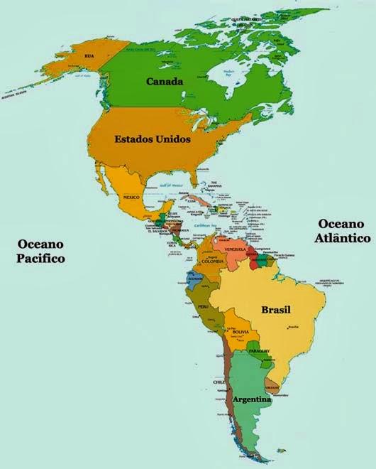 Leitura do mapa Continente americano  Histria e Geografia
