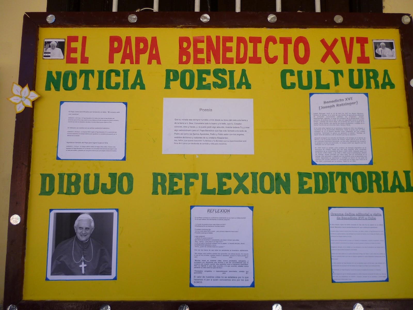 Peri dicos murales en honor al papa benedicto xvi for Cuales son las partes de un periodico mural