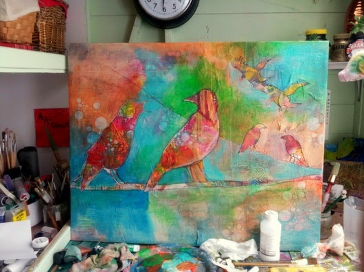 Whoopidooings: Carmen Wing - Crow Family - The making of  our Family Collaboration (Mixed Media)