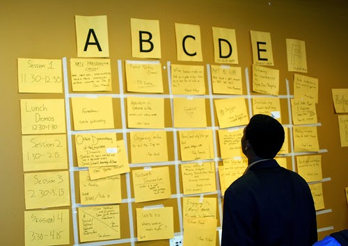picture of a man looking at unconference session wall