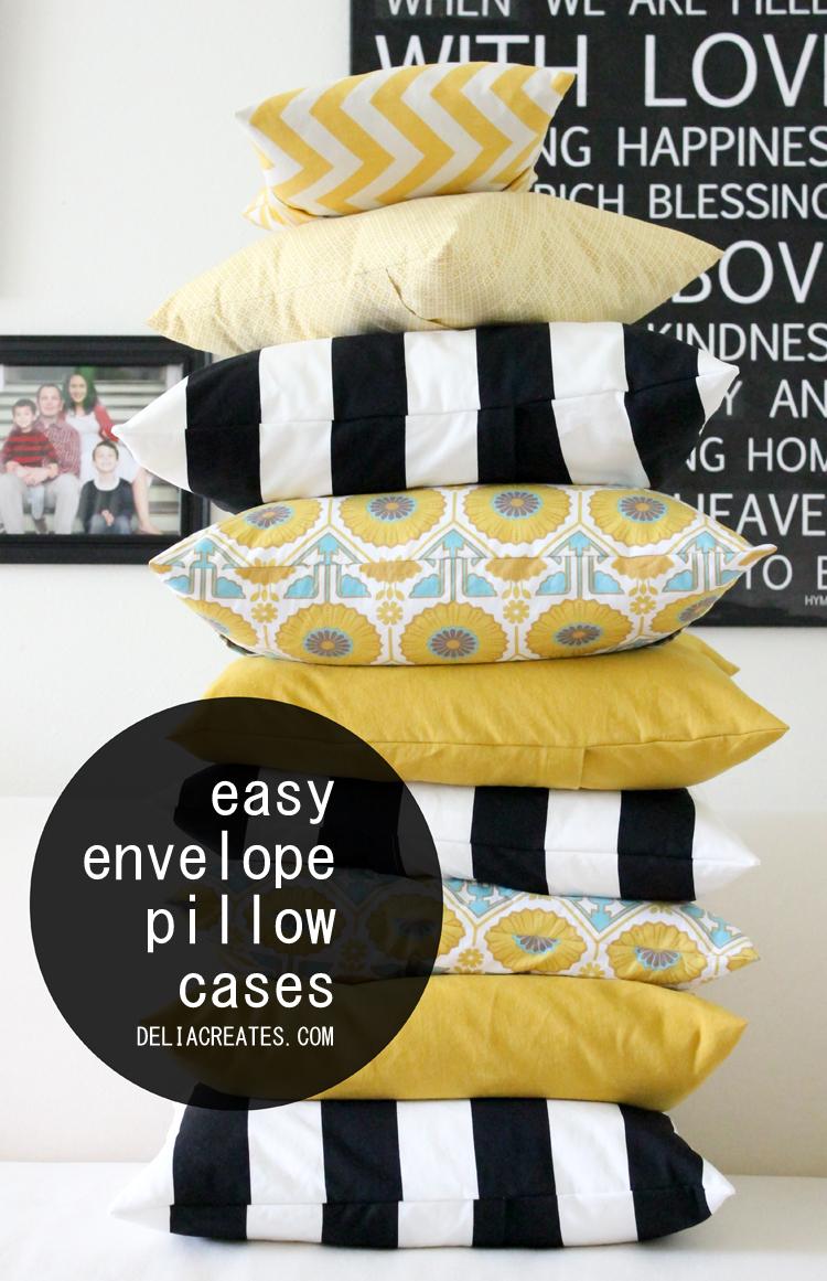Make A Throw Pillow No Zipper : Grosgrain: Easy Envelope Pillow Cases NO ZIPPER!