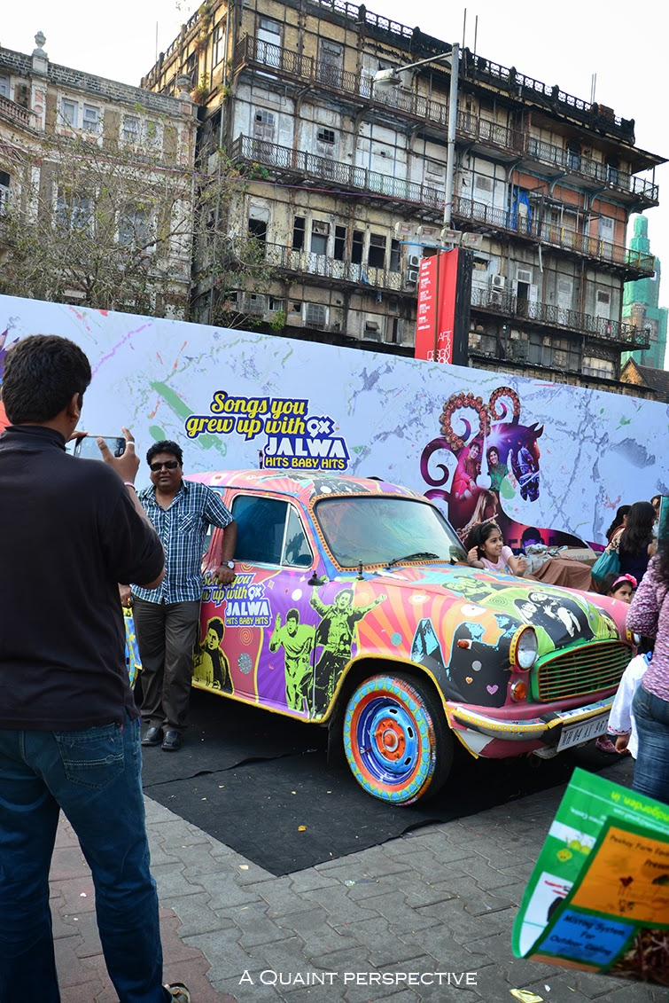 The colorful car with Bollywood Graffiti