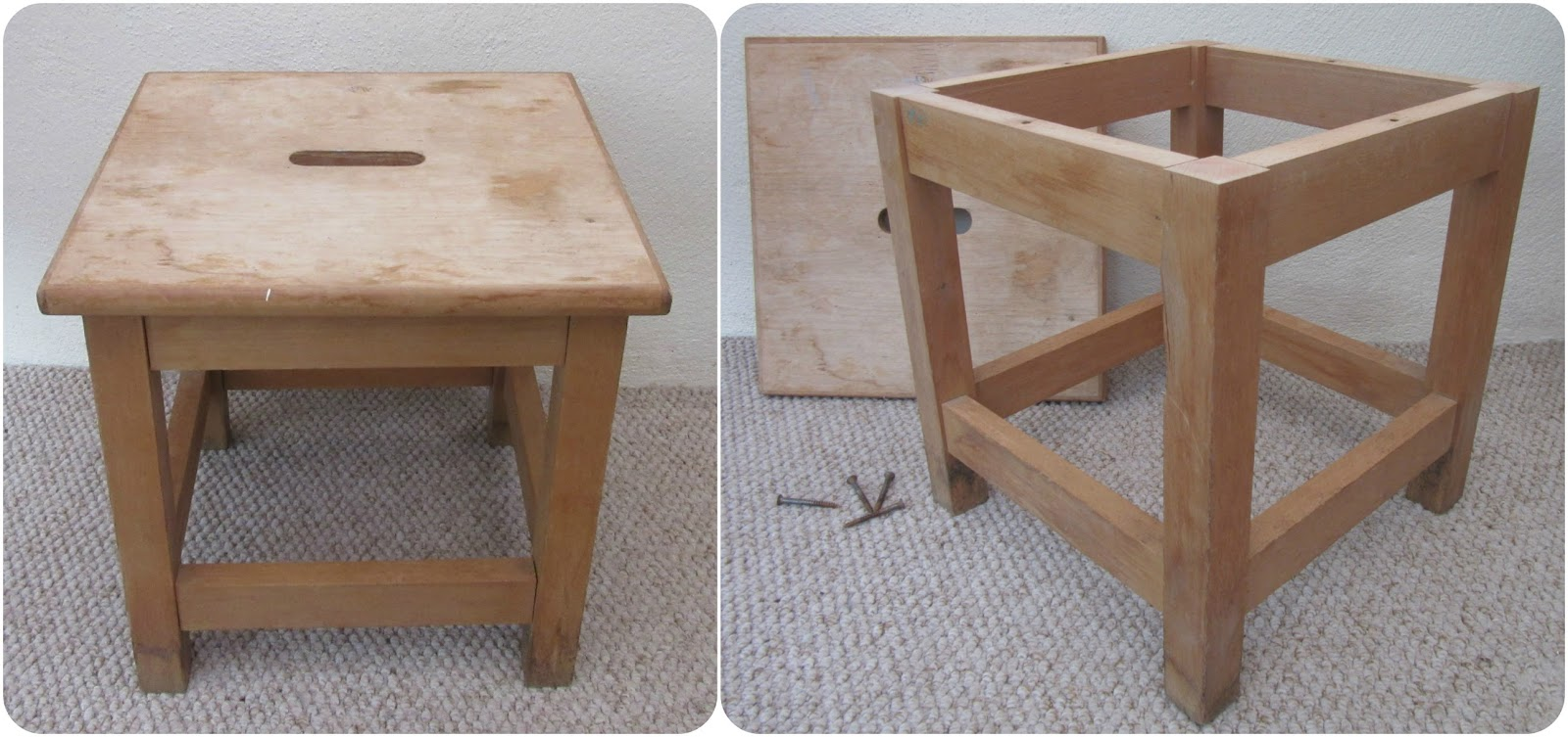Two photos of small square stool in disrepair