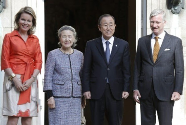 Belgium's Royal Couple Met With UN Secretary General At Royal Palace